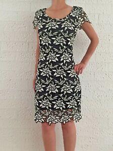 Women-039-s-Black-Floral-Crochet-Sheath-Formal-Evening-Cocktail-Dress-Size-12-14-16