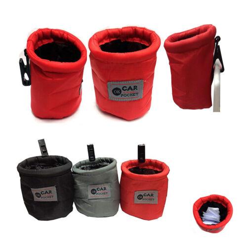 Car Bin Mini GREY Pouch Storage Trash Rubbish Pocket Travel Caddy Holder Waste