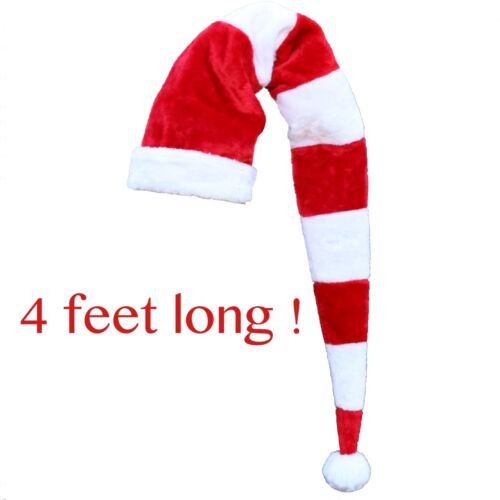 48inch tall long 4ft Santa Hat candy cane plush red white