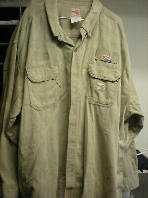 4 Carhartt MEDIUM Flame Resistant FR Work Shirts Beige from Cintas Good Cond C*