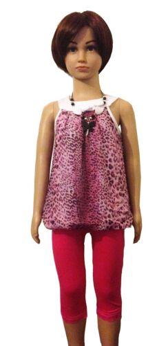 Nuevo Vestido Túnica Niñas Leopardo Top Leggings Collar 3 piezas conjunto traje 3-6y #78