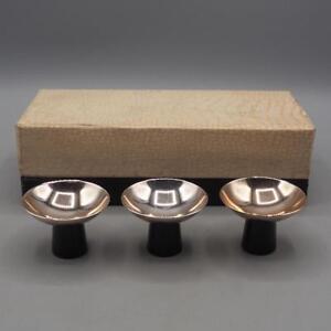 Vintage-Conjunto-de-3-Silverplate-Miniature-Bols-Plastico-Base-Hecho-en-Japon