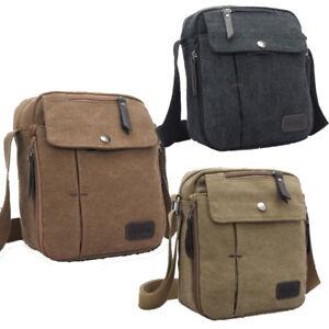 Image is loading Vintage-Mens-Small-Canvas-Shoulder-Bag-Leather-Satchel- 8bd0dfa398f1a