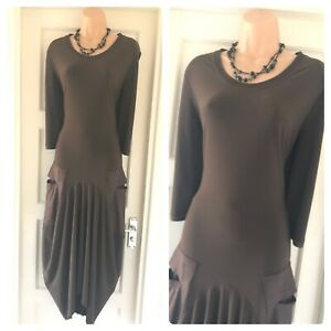 Joseph Ribkoff Brown 3 4 Sleeve Pocket Lagenlook Jersey Stretchy Dress Size 16 Ebay