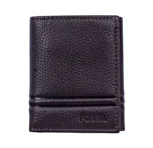 Fossil-ML4006201-Wilder-Men-039-s-Dark-Brown-Leather-Trifold-ID-6-Card-Slot-Wallet