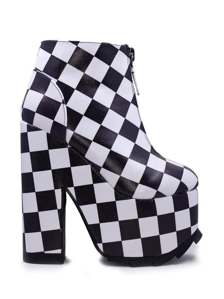 memorizzare YRU Nightmare Checker avvioies avvioies avvioies Platforms scarpe nero bianca Goth Vegan Leather  vendita calda online