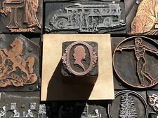 Victorian Woman Cameo With Floral Border Letterpress Print Type Cut Ornament Block