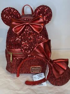 Disney Parks Exclusive Red Sequined Loungefly Minnie Mouse Backpack & Ears NWT