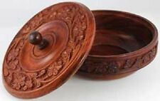 Wooden Ritual Bowl with Lid Offerings 339 Wiccan Pagan Witchcraft Altar Supply
