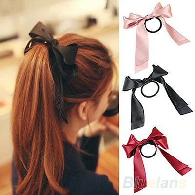Sweet Elastic Bow Band Womens Ribbon Hair Rope Satin Scrunchie Ponytail Holder