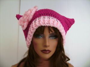 PINK PUSSY CAT HAND CROCHET HAT CAP PROTEST MARCH WOMENS MARCH NASTY WOMAN HAT