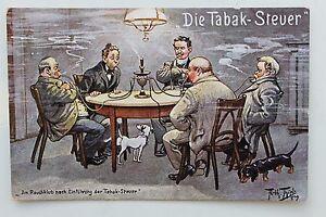 26478-Kuenstler-AK-Arthur-Thiele-Rauchklub-nach-Einfuehrung-Tabak-Steuer-m-Dackel