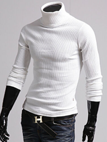 Mens New Fashion Luxury Turtle Neck Sweater Long Sleeve Jumper Top W9372 S//M