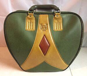 Vtg Single Ball Castle Bowling Bag Retro Mod 70's Green Yellow Brown EUC!!!!
