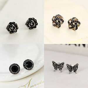 Antique-925-Sterling-Silver-Rose-Knot-Sapphire-Butterfly-Stud-Earrings-Vintage