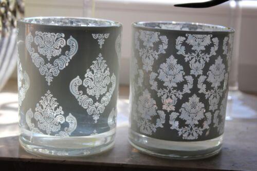 Zauberhaftes Glas-Windlicht weiß mit Blumendekor♥2 Muster wählb.♥Teelichthalter