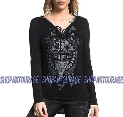 AFFLICTION AC Arrow AW11229 Long Sleeve Pullover Fashion Top With Hood for Women