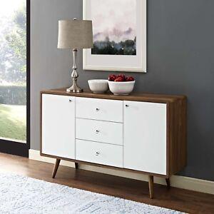 Mid-Century-Modern-Wood-Grain-Storage-Buffet-Sideboard-Stand-in-Walnut-White
