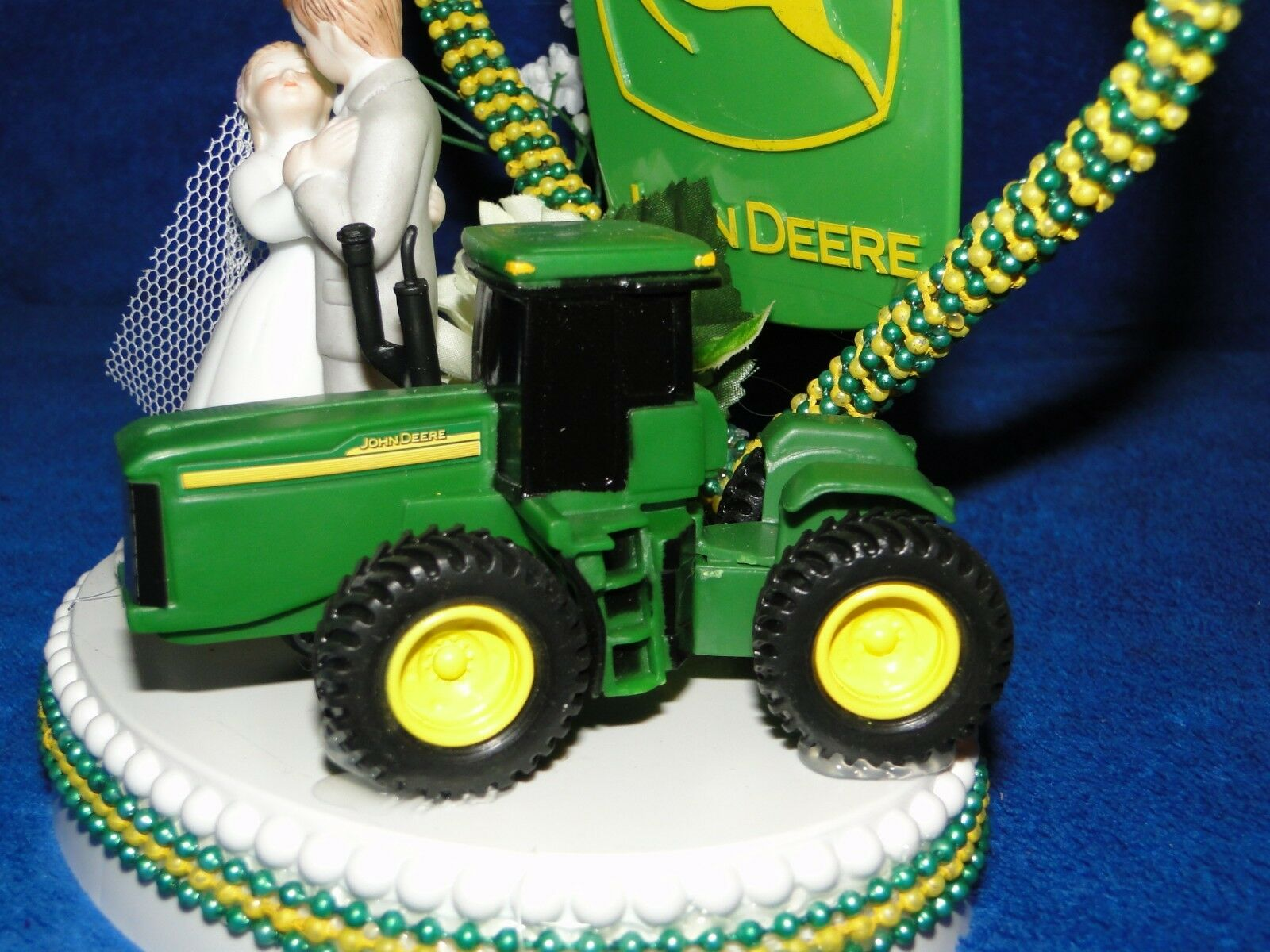New John Deere Tractor Wedding Couple Cake Topper With 3 Bride Groom