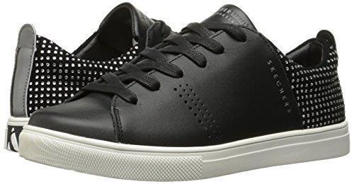 Skechers MODA Rhinestones Back Silver Strip Black  Leather Sneakers Wms 7.5 NWT