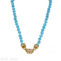 Kirks Folly Timeless Crystal Magnetic Necklace Gold-tone & Island Aqua 17