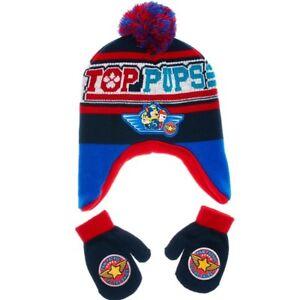 3f1fef2a31c17 PAW PATROL CHASE MARSHALL TOP PUPS Boys Peruvian Beanie Hat   Mitten ...