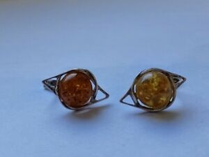 Beautiful-Natural-Baltic-Amber-Vintage-Russian-Sterling-Silver-925-Earrings