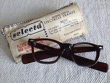 60's SELECTA France chocolate black eyeglasses frames Arnel style deadstock 46