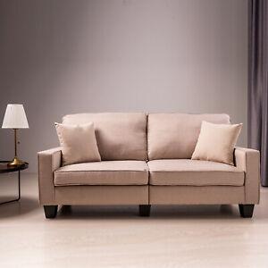 2-Sitzer-Polstersofa-Sofa-Schlafsofa-Couch-Wohnzimmer-Sessel-Stoffsofa-Beige