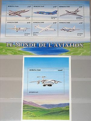 Burkina Faso Briefmarken Burkina Faso 1999 Klb 1653-58 Block 190 1129-30 Flugzeuge Aircrafts Planes Mnh