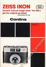 Zeiss Ikon Contessa LBE Instruction Book, More Camera Manuals & Leaflets Listed