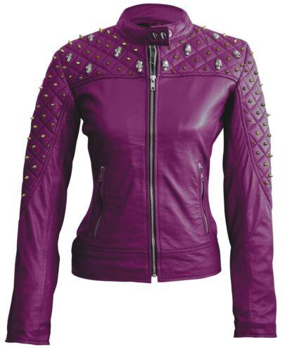 leer Womens lange hengsten Jacket mouwen echt Hand Purple Pure Fashion vaste 80kOwnP