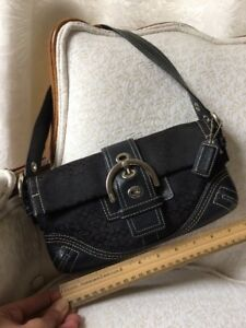 Coach-Soho-Black-Leather-amp-Canvas-Signature-Hobo-Shoulder-Buckle-Flap-Purse-Bag