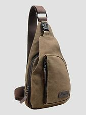 Cuteme  Men's Small Canvas Military Messenger Shoulder Travel Hiking Bag