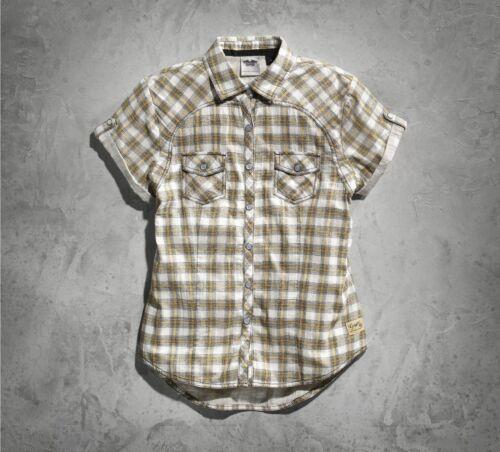 New Harley-Davidson Women/'s Genuine Short Sleeve Plaid Shirt Blouse 99136-15VW