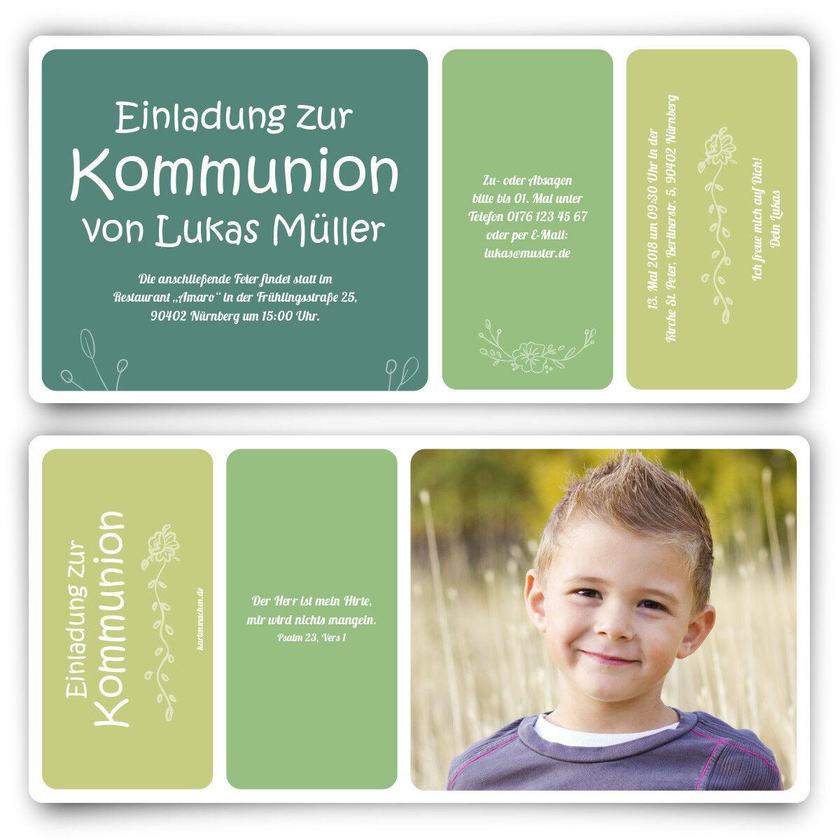 Kommunion Einladungskarten Kommunionskarten Einladungen - Blaumenabriss