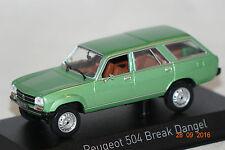 Peugeot 504 break Dangel verde metalizado 1980 1:43 norev nuevo + embalaje orig. 475430
