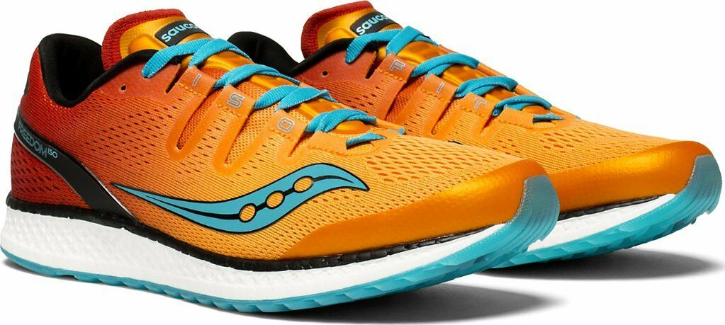 New Mens Saucony Freedom ISO Running shoes Size 9.5 orange - Red - Teal
