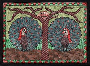 Madhubani-Pavone-Motivo-Art-Indiano-Mithila-Mano-Miniatura-Tribale-Pittura