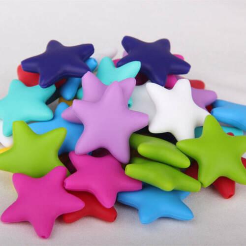 25Pcs Geometric Silicone Teething Beads DIY Baby Chew Sensory Jewelry Teether