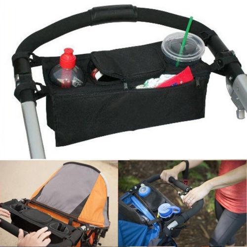 Baby Stroller Cup Holder Safe Console Tray Pram Hanging Black Bag Bottle Holder