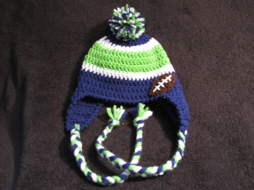 Pom Pom AND Football Baby to Adult Ear Flaps Crochet Seahawk Hats Braids
