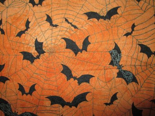 BATS SPIDER WEB BAT SPIDERWEBS ORANGE BLACK COTTON FABRIC BTHY