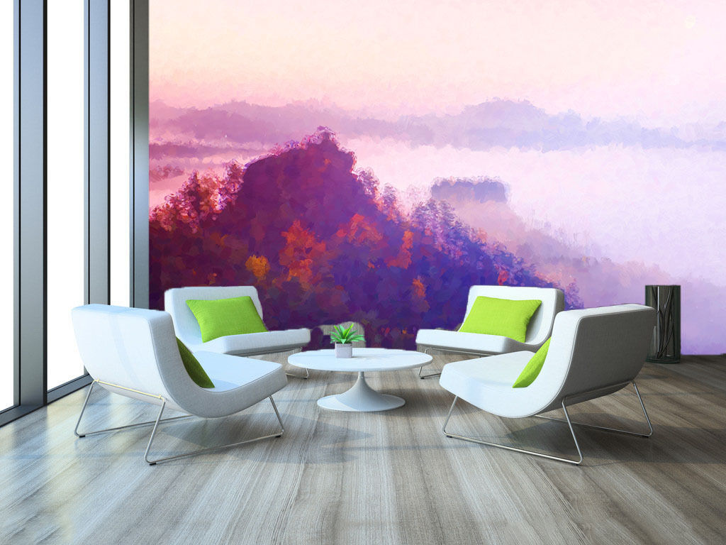 3D lila Sky Forest Paper Wall Print Wall Decal Wall Deco Indoor Murals