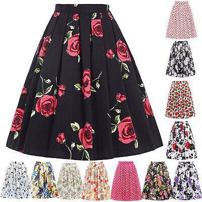 VINTAGE 50's 60s Womens High Waist Pleated Floral Short Mini Skirt Flared Dress