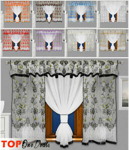 Lovely Voile Net Curtains With Flowers Ready Made Living