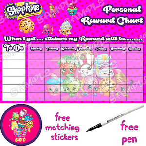 Reusable personalised Reward sticker Chart, free Stickers & pen. potty training