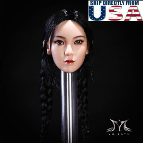 "1//6 Female Head Sculpt Double Braided BLACK Hair For 12/"" PHICEN Figure PALE USA"