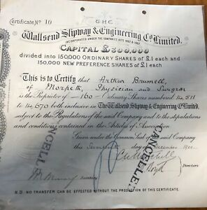 Vintage Bond Share Certificate 1900 Wallsend Slipway Engineering Co Shipping Old