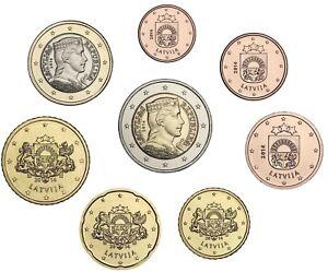 Lettland-1-Cent-bis-2-Euro-2014-KMS-bankfrisch-lose-im-Muenzstreifen